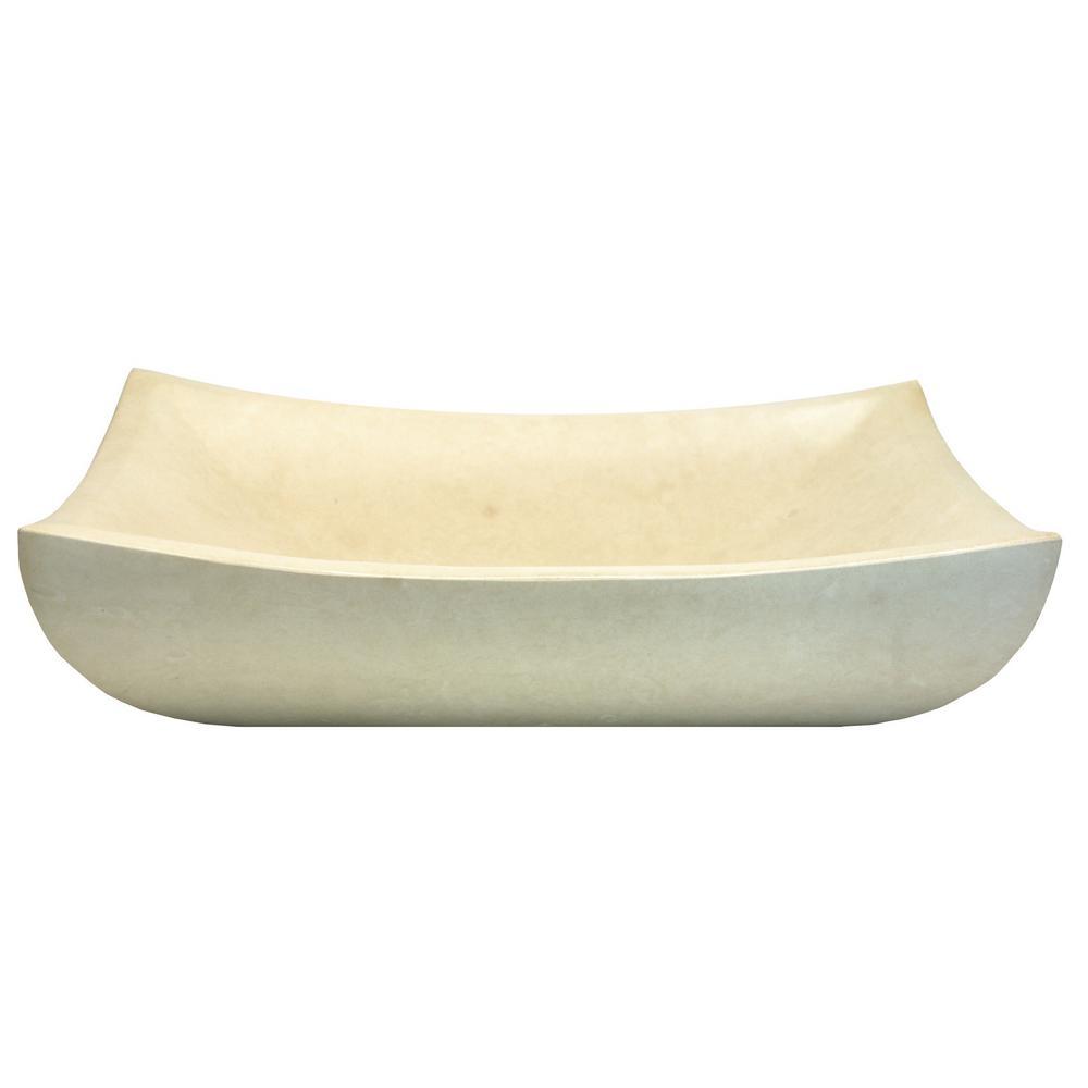 Eden Bath Deep Zen Sink In Polished White Limestone