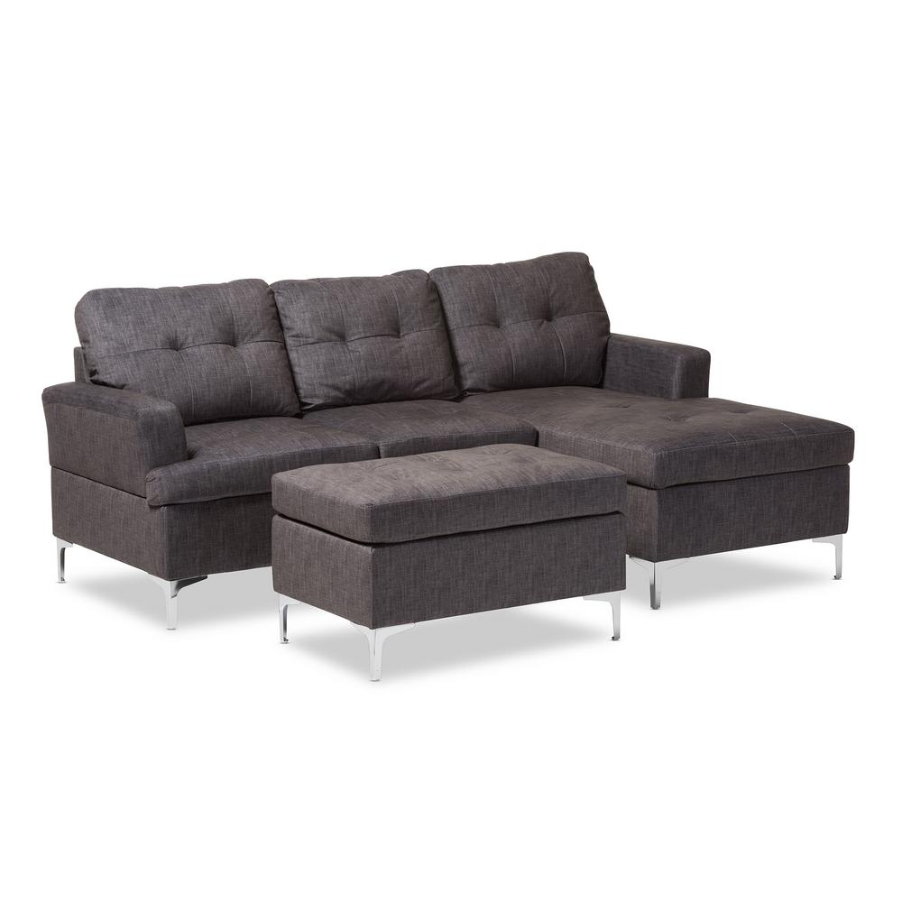Riley 3-Piece Contemporary Gray Fabric Upholstered Right Facing Chase Sectional
