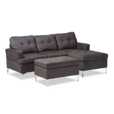Riley 3-Piece Contemporary Gray Fabric Upholstered Right Facing Chase Sectional Sofa with Ottoman