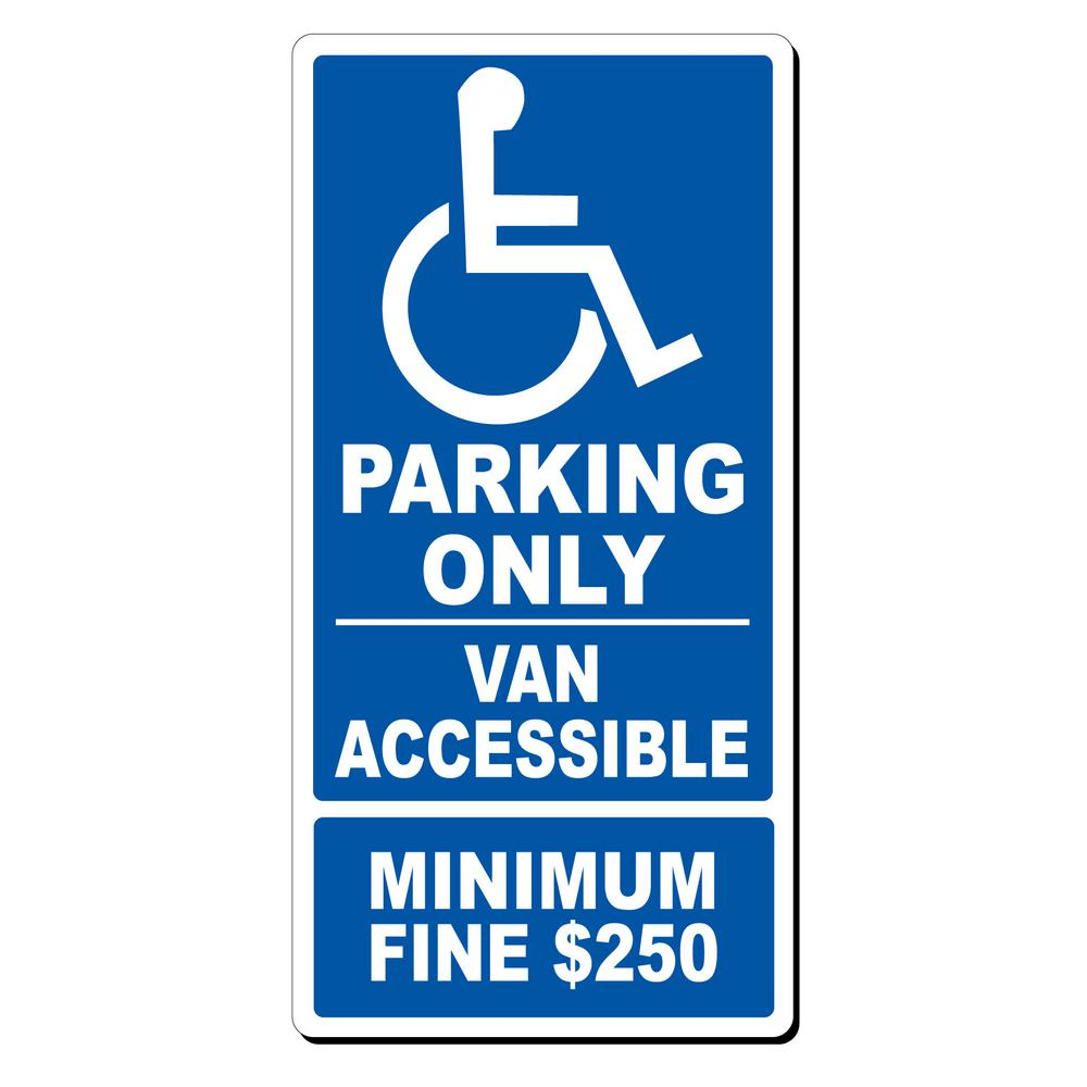 Lynch Sign 12 in. x 24 in. x 0.032 Aluminum Van Accessible Parking, Blue On White Post this sign to help parking control. Aluminum resists fading. Bold type for easy readability from far away. Color: Blue on White.