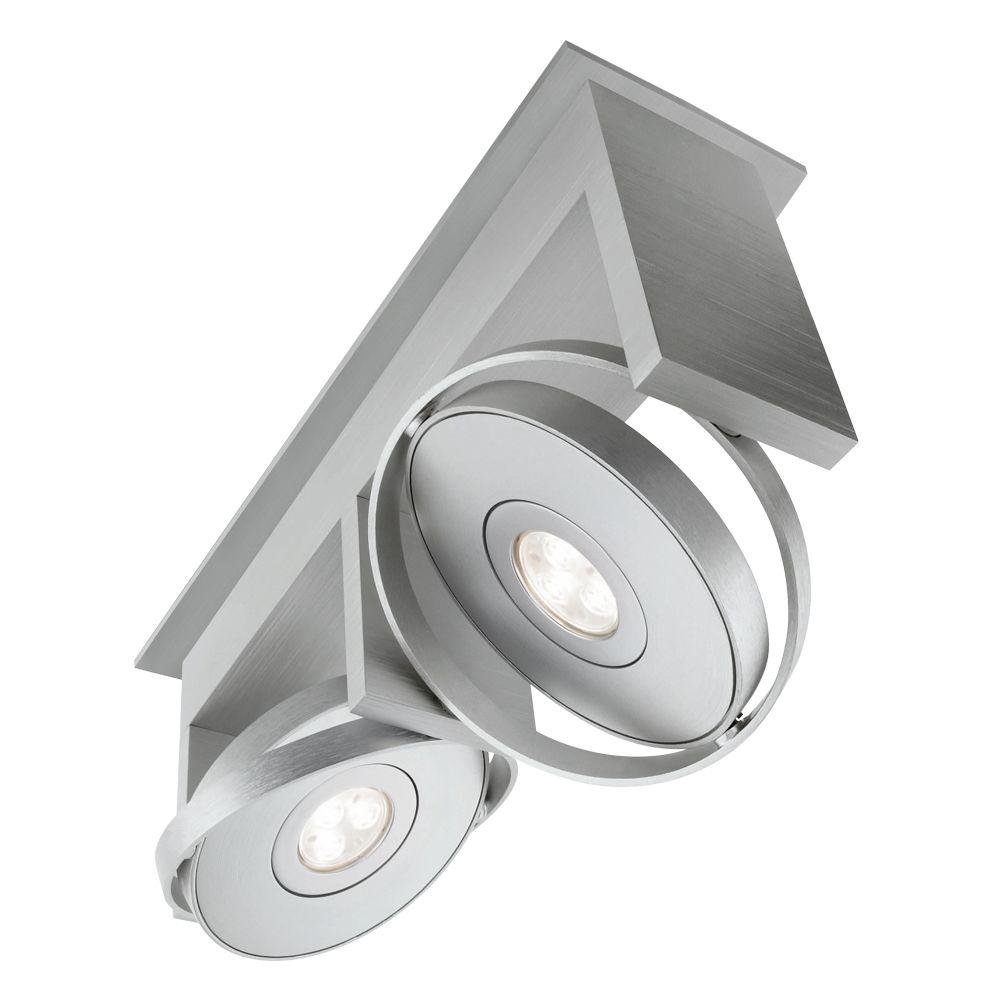 Philips Orbit 2-Light Integrated Semi Flush Brushed Nickel Ceiling LED Track Lighting Fixture