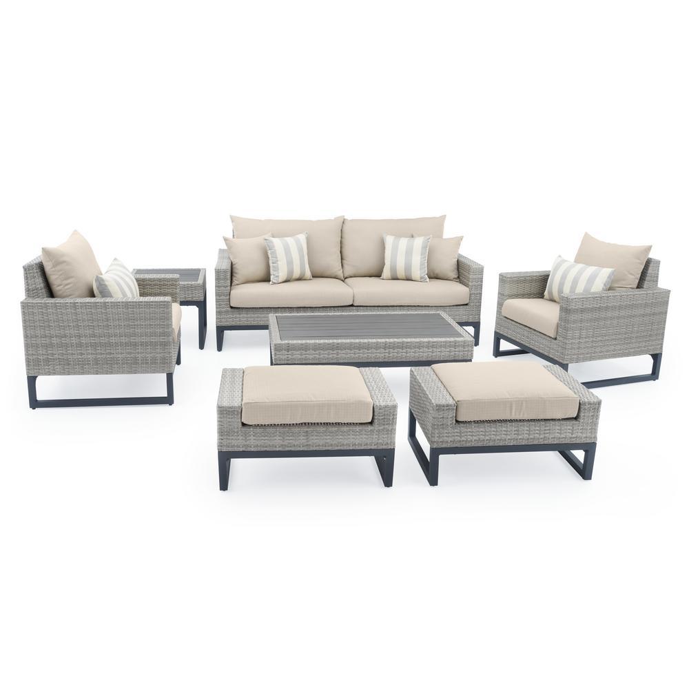 RST Brands Milo Grey 7-Piece Wicker Patio Deep Seating Conversation Set with Slate Grey Cushions