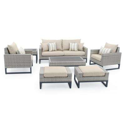 Milo Grey 7-Piece Wicker Patio Deep Seating Conversation Set with Slate Grey Cushions