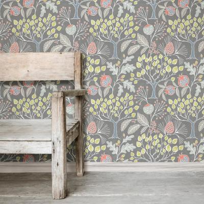 Groovy Garden Grey Peel and Stick Wallpaper