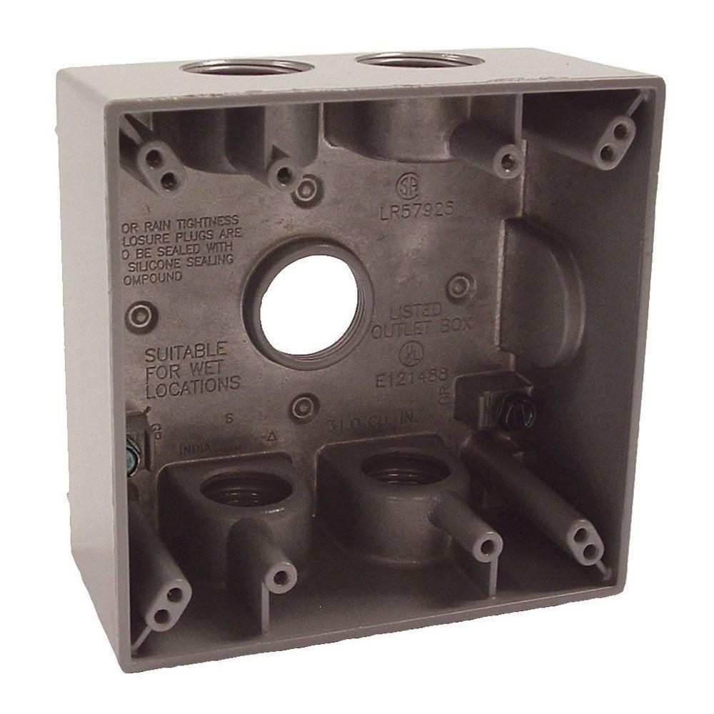 """1 pc Weatherproof 1-Gang Metal Extension Ring 4 Four 3//4/"""" Holes GRAY Outdoor Box"""