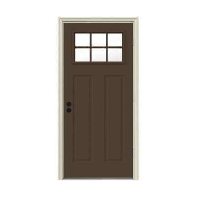 32 in. x 80 in. 6 Lite Craftsman Dark Chocolate Painted Steel Prehung Left-Hand Outswing Front Door w/Brickmould