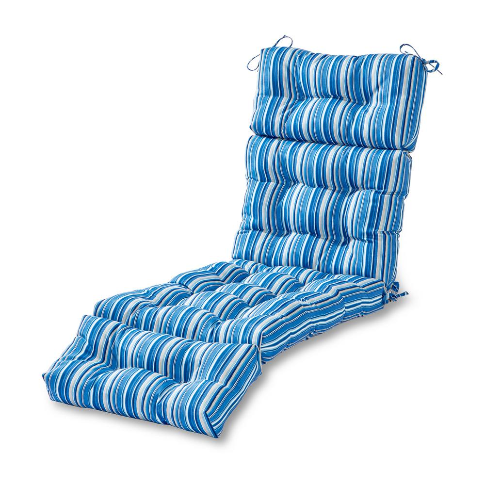 Greendale Home Fashions Coastal Stripe Sapphire Outdoor Chaise Lounge Cushion