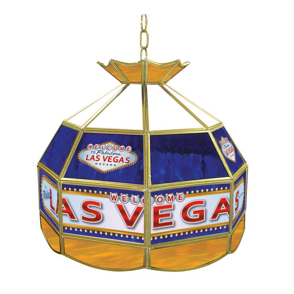 Trademark Global Las Vegas 16 in. Brass Hanging Tiffany Style Billiard Lamp