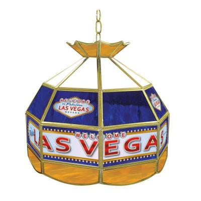 Las Vegas 16 in. Brass Hanging Tiffany Style Billiard Lamp