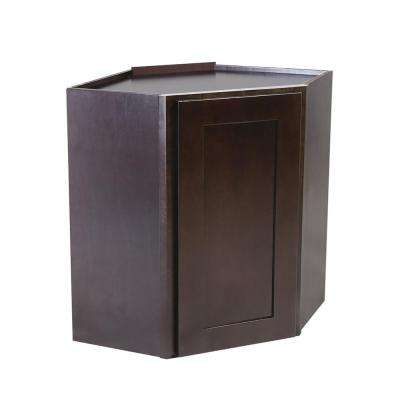 Ready to Assemble 24x12x30 in. Brookings Shaker Style 1-Door Corner Wall Cabinet in Espresso