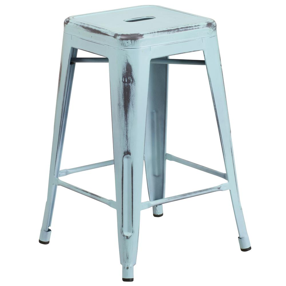 Flash Furniture 24 in Distressed Blue Bar StoolETBT350324DB The