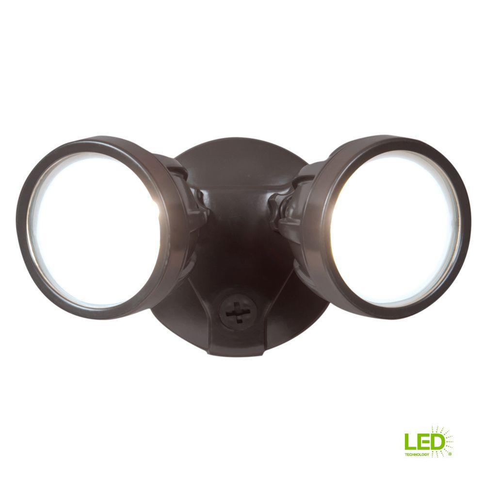 Twin-Head Bronze Outdoor Round LED Flood Light