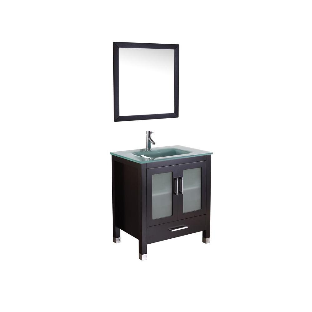 Virtu USA Bradly 29-1/10 in. Single Basin Vanity in Espresso with Glass Vanity Top in Aqua and Framed Mirror-DISCONTINUED