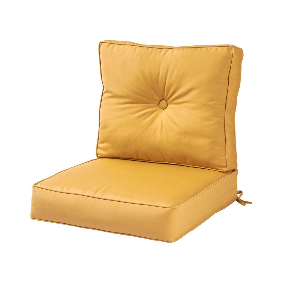Greendale Home Fashions Sunbrella Wheat 2 Piece Deep Seating Outdoor Lounge Chair Cushion Set