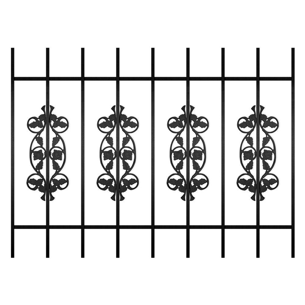 Unique Home Designs Rambling Rose 48 in. x 36 in. Black 9-Bar Window Guard-DISCONTINUED