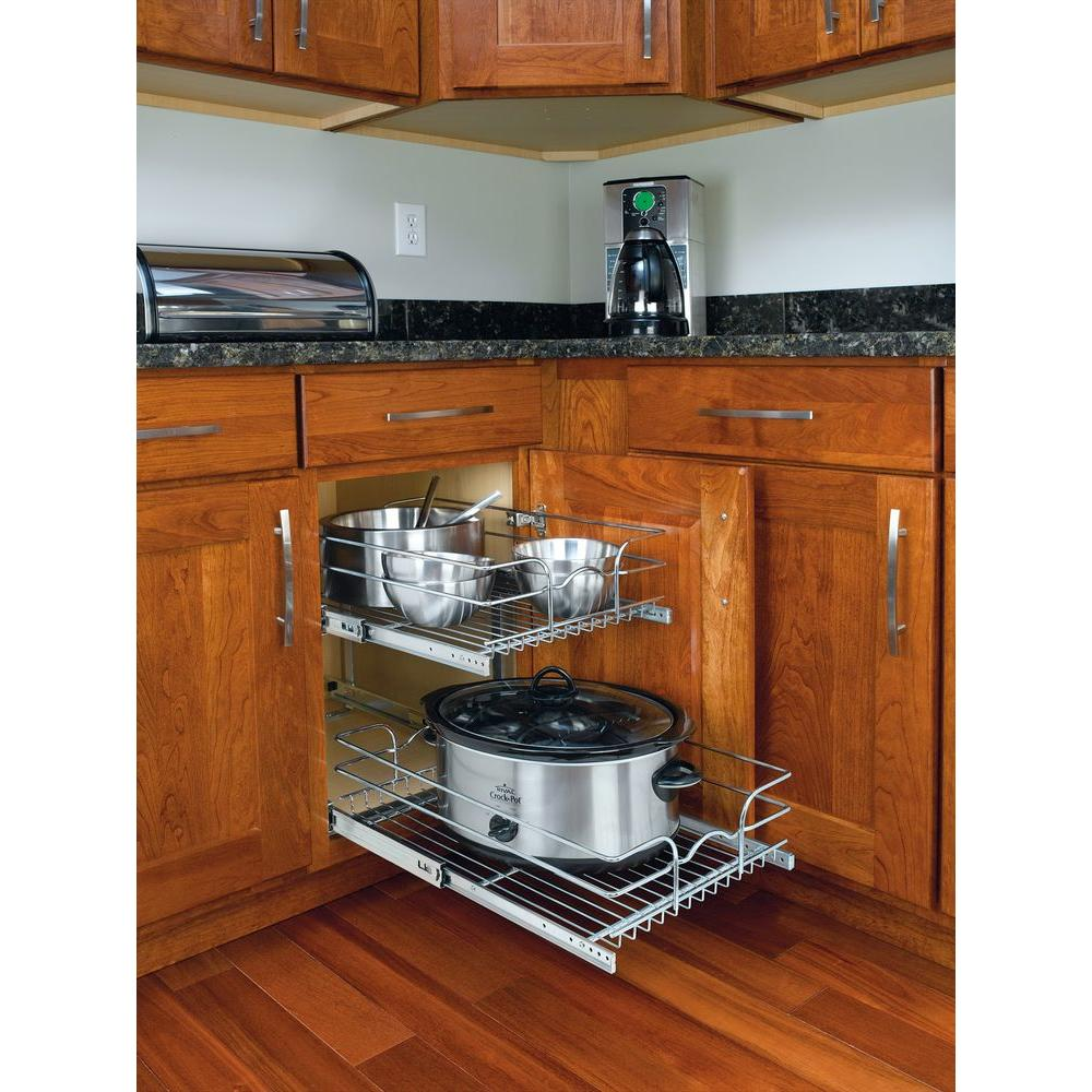 2 Tier Wire Basket Cabinet Pull Out Chrome Shelves Shelf Sliding Kitchen Storage