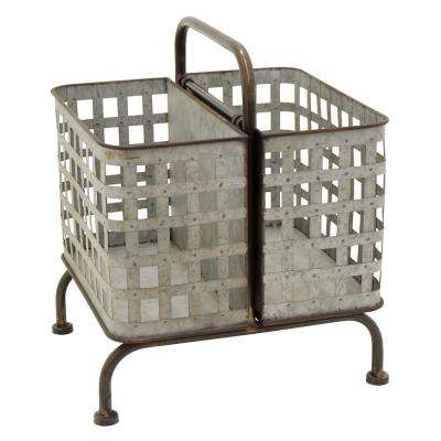 18.25 in. Decorative Metal Storage Basket