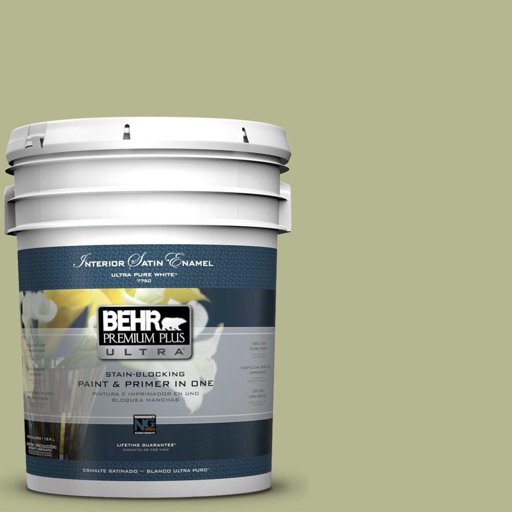 BEHR Premium Plus Ultra 5-gal. #HDC-SP14-1 Secret Glade Satin Enamel Interior Paint