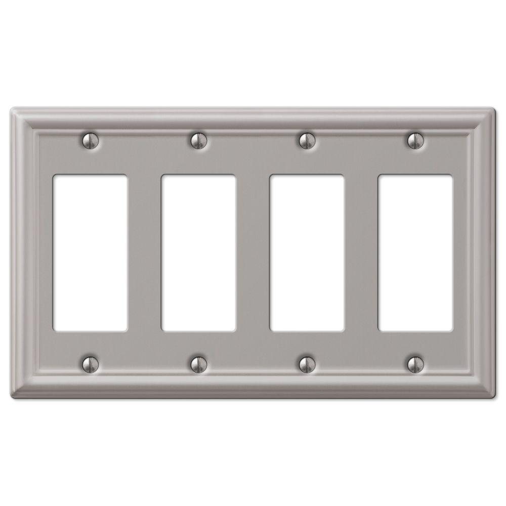 hampton bay chelsea 4 decora wall plate brushed the home depot