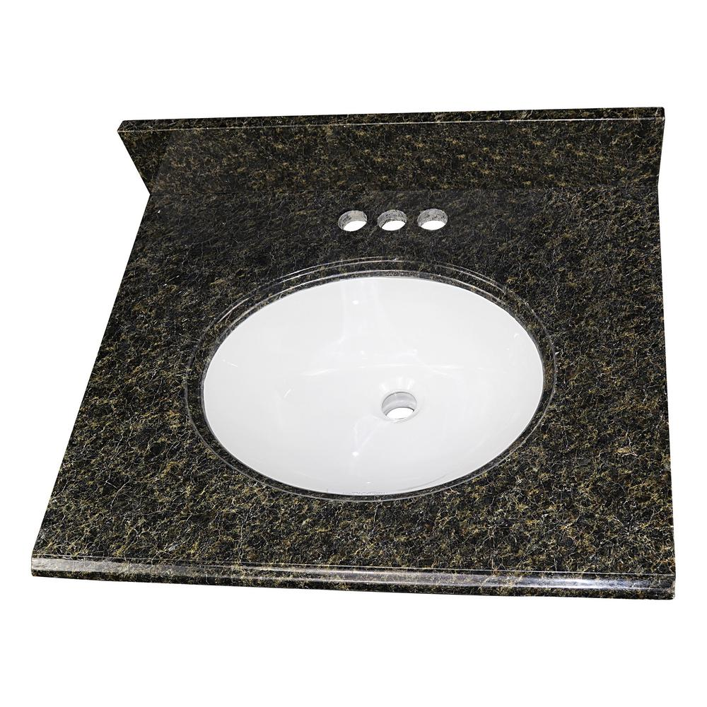 Home Decorators Collection 25 in. W x 22 in. D Granite Single Oval Basin Vanity Top in Uba Tuba with 4 in. Faucet Spread and White Basin was $291.0 now $203.7 (30.0% off)