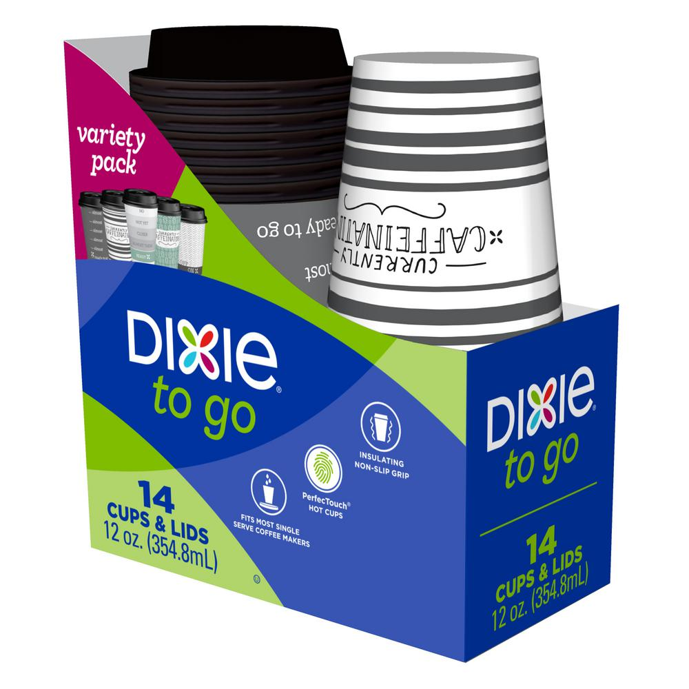 Dixie Multicolor Paper Cups with Lids (14-Pack) 43211 - The