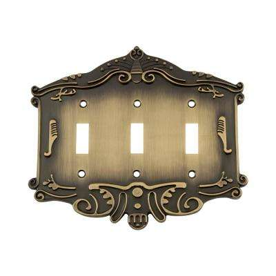 Victorian Switch Plate with Triple Toggle in Antique Brass