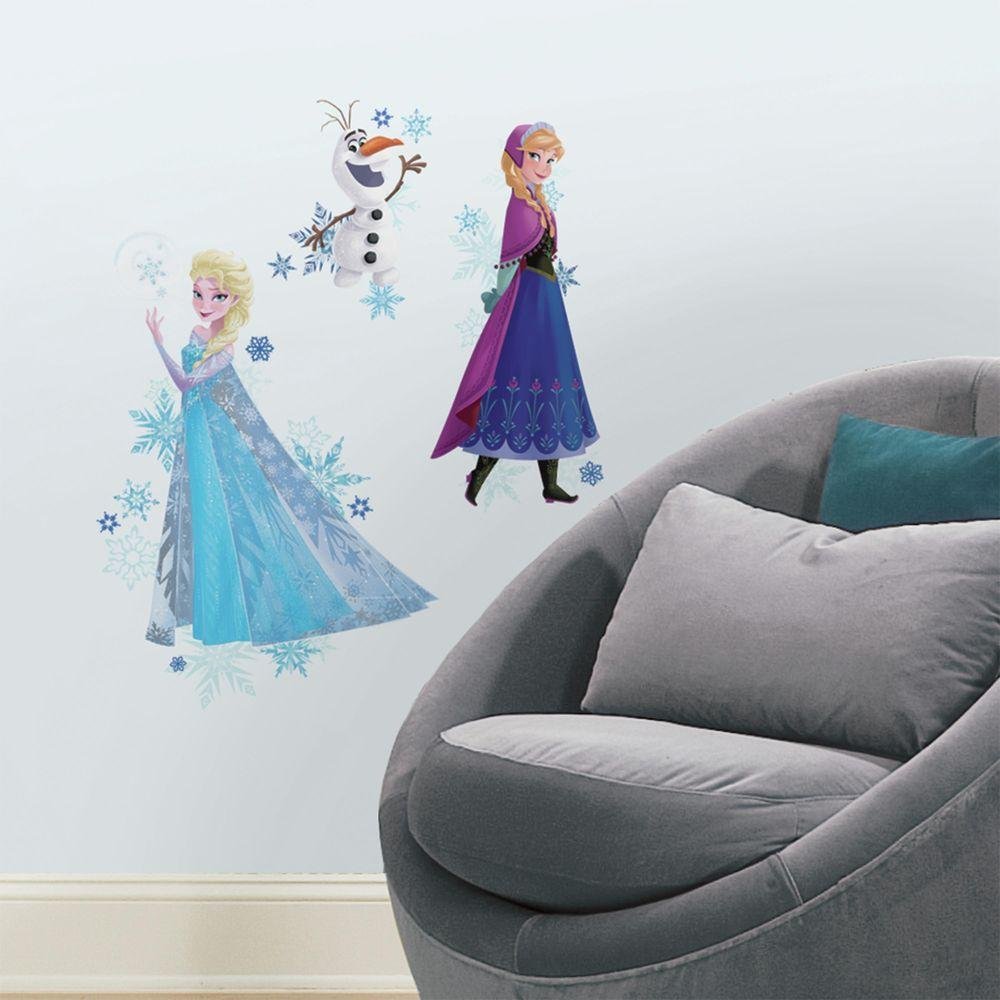 Roommates 25 in x 21 in frozen anna elsa and olaf peel and frozen anna elsa and olaf peel and stick giant wall decal 3 piece rmk2771tb the home depot amipublicfo Gallery
