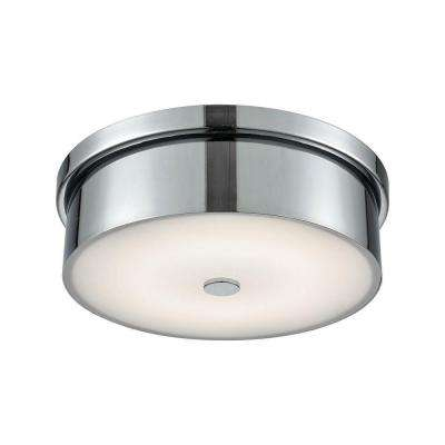 Towne Chrome and Opal Glass Small Round LED Flush Mount