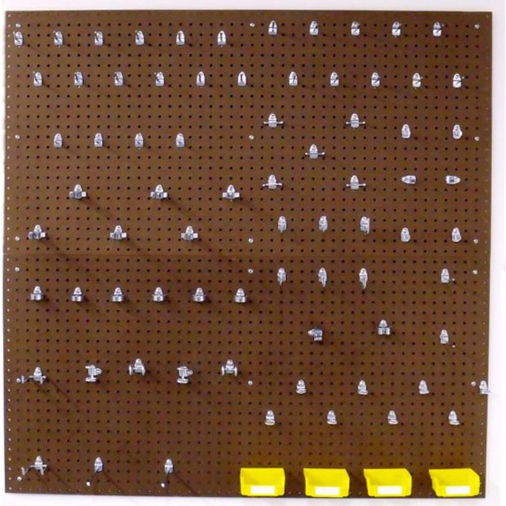 Triton Products Heavy Duty 0.25 in. H x 48 in. W Pegboard Set Wall Organizer Kit in Brown with 83-Piece Locking Hooks