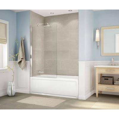 Axial Square Shield 34 in. x 58 in. Frameless Pivot Bathtub Door in Brushed Nickel