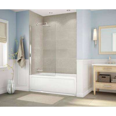 Axial Square 34 in. x 58 in. Frameless Fixed Tub Door in Brushed Nickel