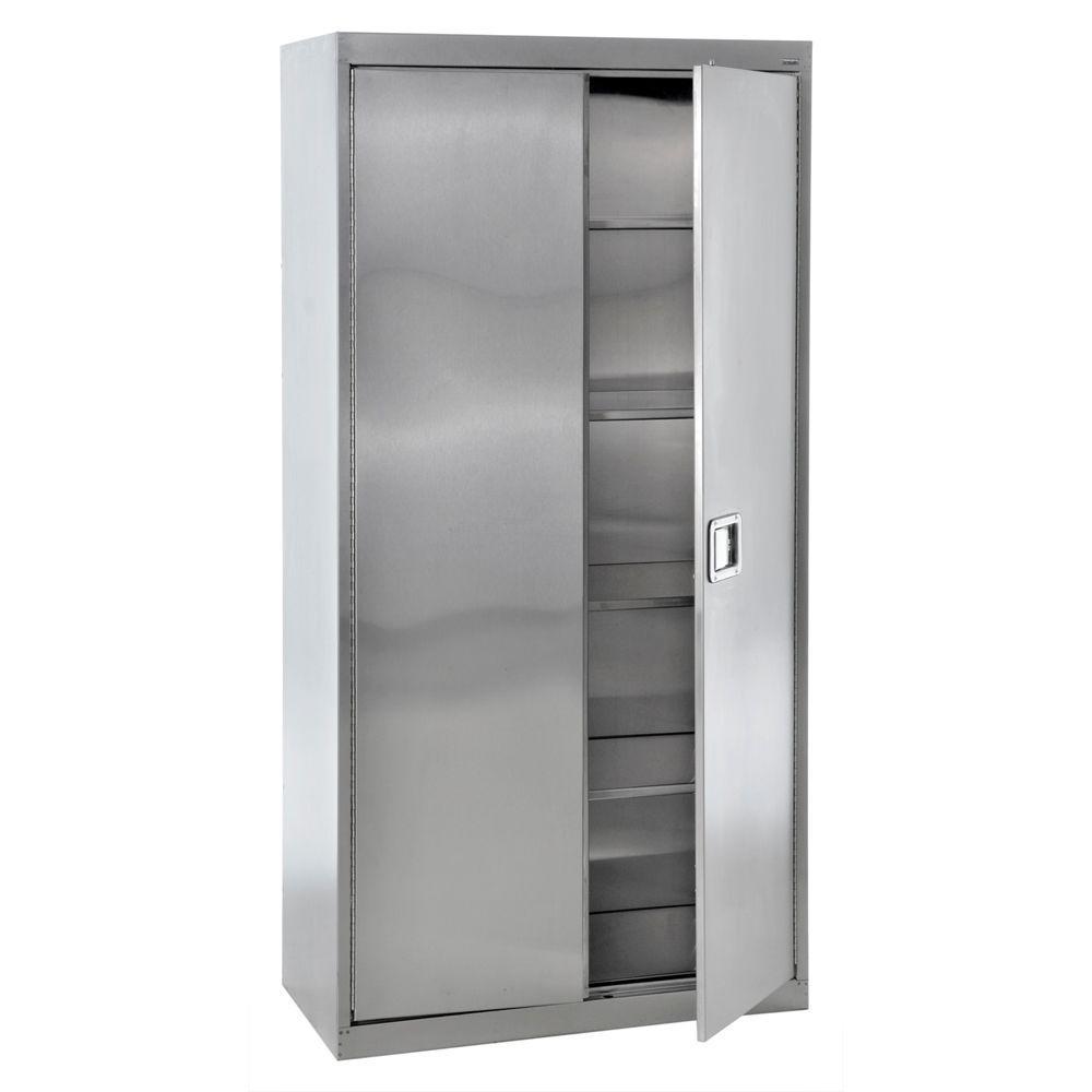 78 in. H x 36 in. W x 24 in. 5-Shelf D Stainless Steel Freestanding Garage Cabinet