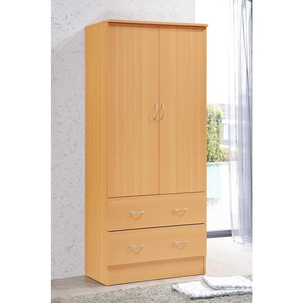 Details about 2 Door Wardrobe Cabinet Wooden Clothes Closet Drawer Bedroom  Armoire Organizer