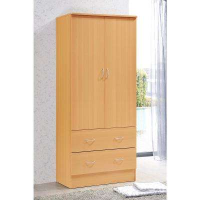 2-Door Armoire with 2-Drawers in Beech  sc 1 st  The Home Depot & Armoires u0026 Wardrobes - Bedroom Furniture - The Home Depot
