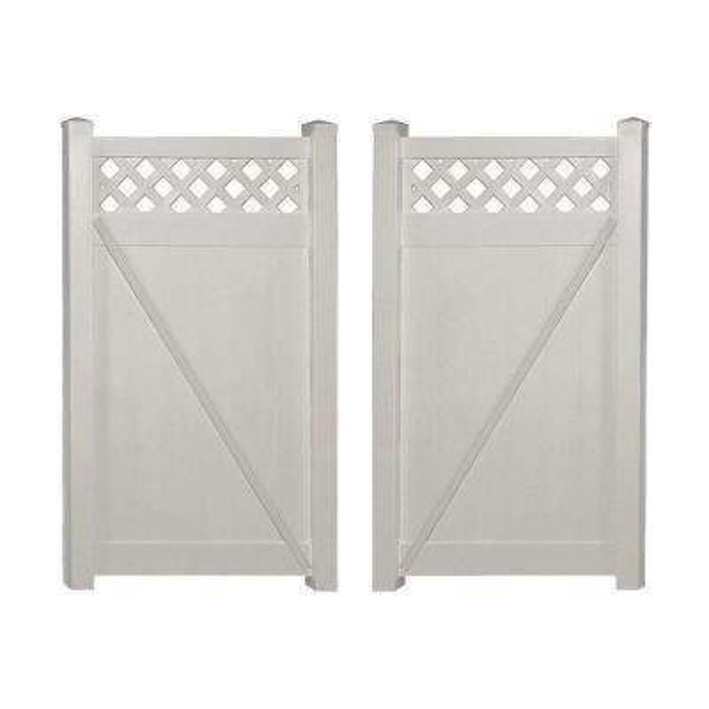 Ashton 7.4 ft. W x 5 ft. H Tan Vinyl Privacy Fence Double Gate Kit