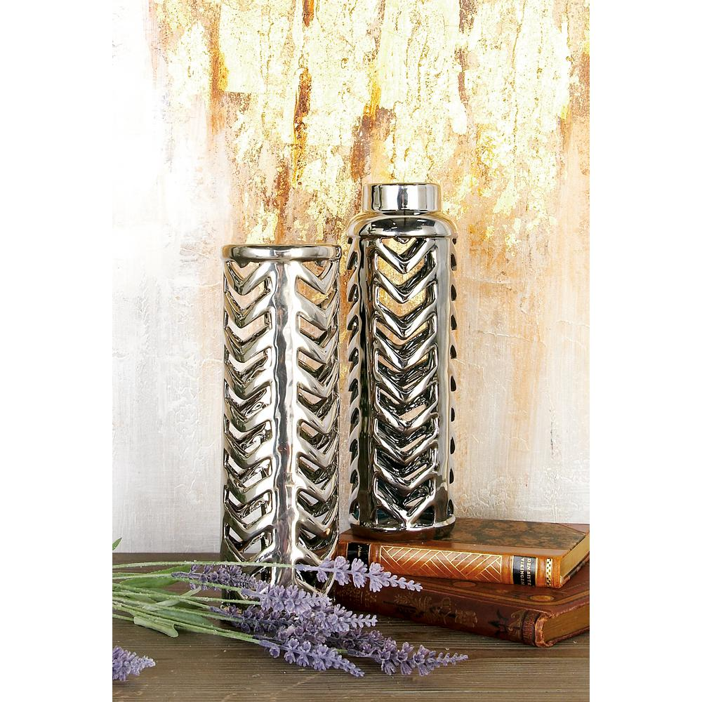 11 in. Modern Lacquered Silver Ceramic Decorative Vases (Set of 2)
