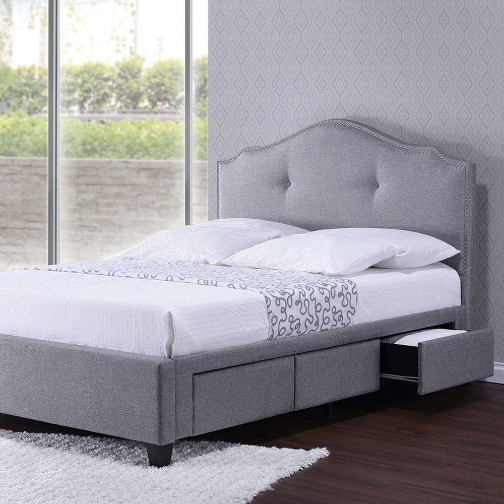Baxton Studio Taylor Gray Fabric Upholstered Queen Platform Bed 28862 7513 Hd The Home Depot