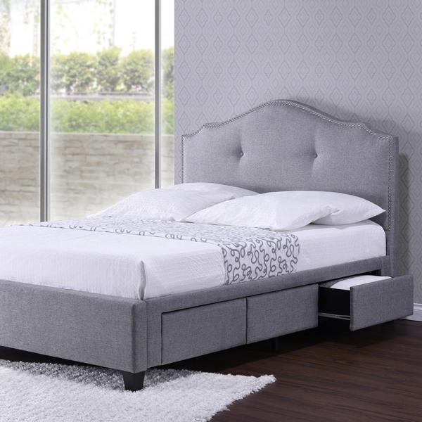 Baxton Studio Armeena Gray Queen Upholstered Bed 28862-6265-HD