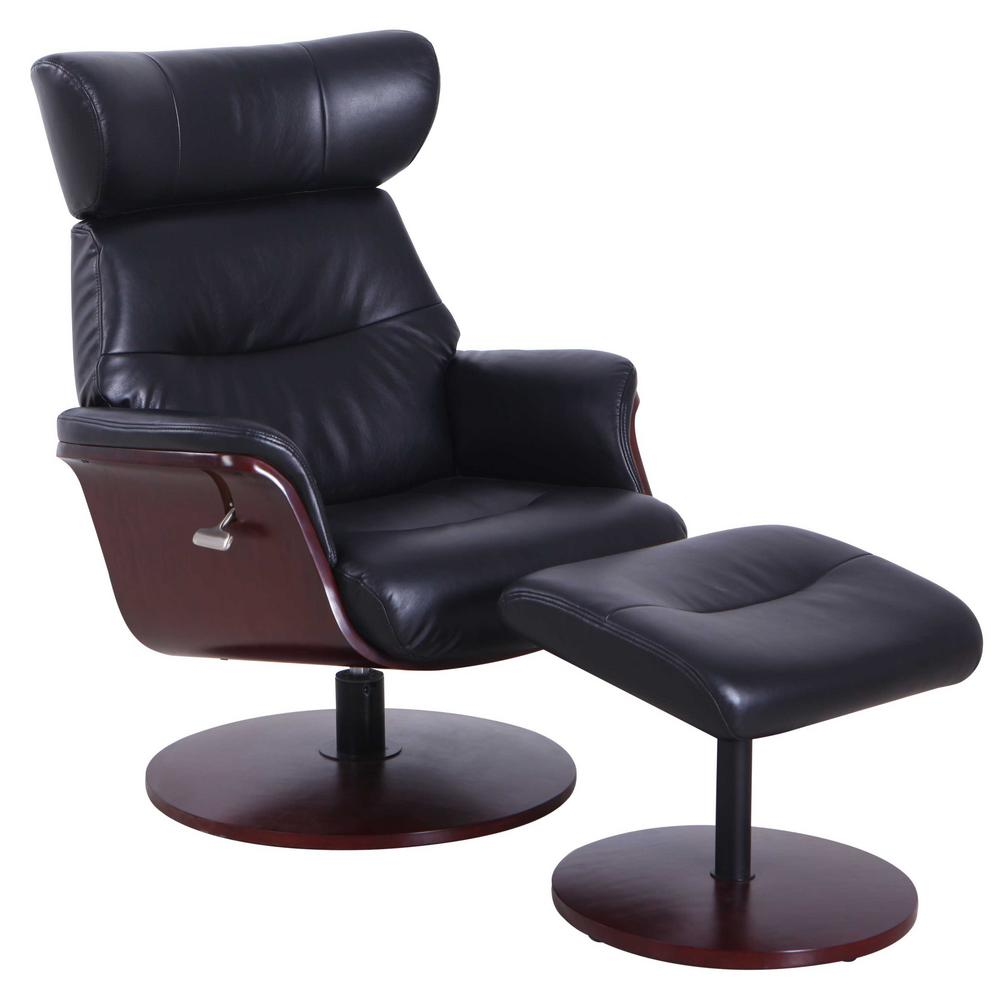 Mac Motion Chairs Relax R Sennet Black Air Leather Recliner and Ottoman SENNET729493 The Home Depot