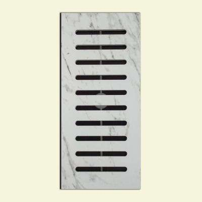 Made2Match Carrara Glazed Polished Porcelain 5 in. x 11 in. Floor Vent Register Tile Edging Trim