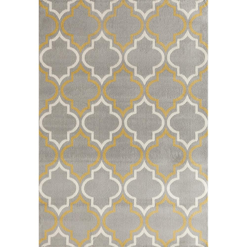 World Rug Gallery Modern Moroccan Trellis Gray Yellow 5 Ft X 7