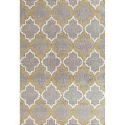 Modern Moroccan Trellis Gray/Yellow 7 ft. 6 in. x 9 ft. 5 in. Area Rug