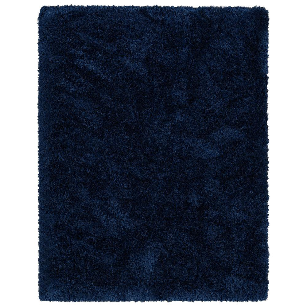 Ottomanson Pure Fuzzy Flokati Navy 5 ft. x 7 ft. Faux Sheepskin Indoor Kids Area Rug