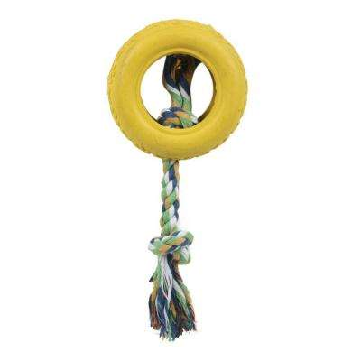Rubberized Dog Chew Rope and Tire in Yellow