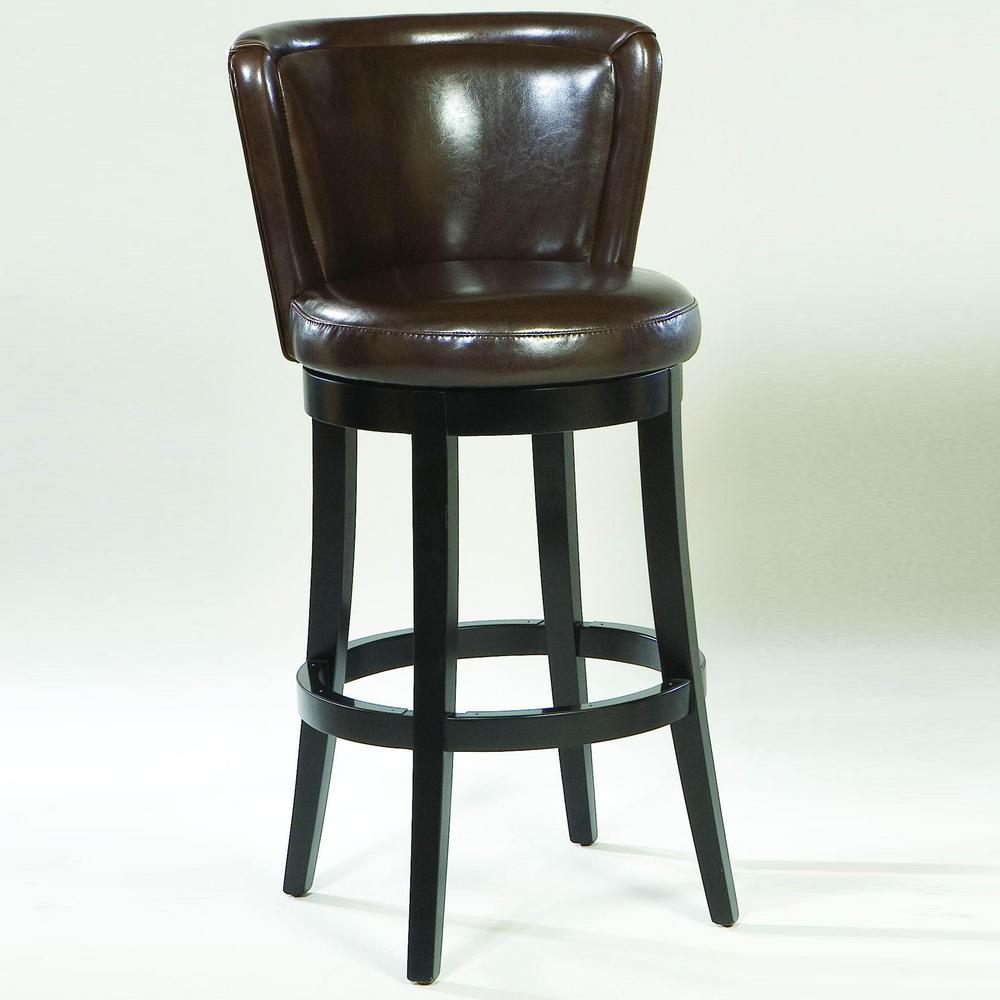 Beautiful Armen Living Lisbon 26 In. Brown Bonded Leather And Black Wood Wood Finish  Swivel Barstool