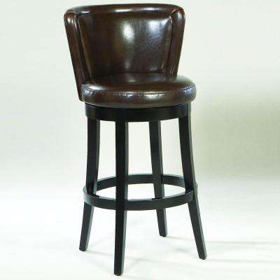 Lisbon 26 in. Brown Bonded Leather and Black Wood Wood Finish Swivel Barstool