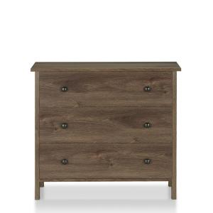 London 3-Drawer Distressed Walnut Chest of Drawers