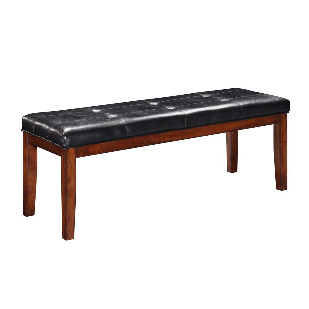 Home Decorators Collection Hawthorne Charcoal PU Leather Bench-DISCONTINUED