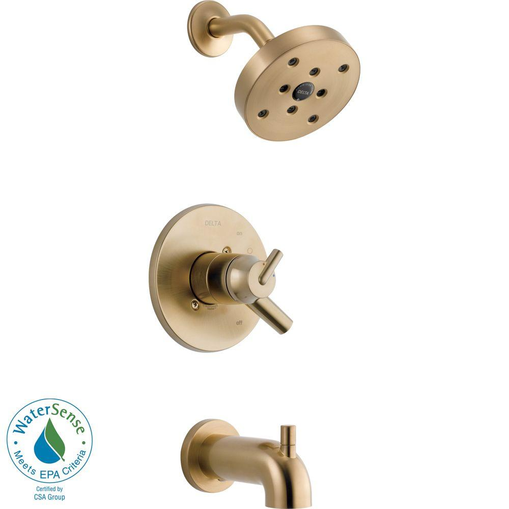 Delta Trinsic 1-Handle H2Okinetic Tub and Shower Faucet Trim Kit in Champagne Bronze (Valve Not Included)