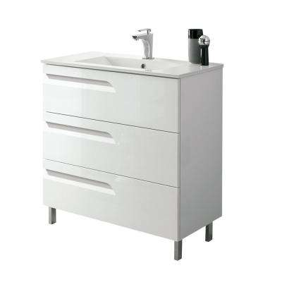 Vitta 24 in. W x 18 in. D x 34 in. H Vanity in White with Porcelain Top in White with White Basin